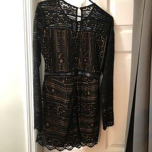 Francesca's Black Lace Romper Size M NWT